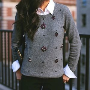 Loft Grey Embellished Sweater. M.
